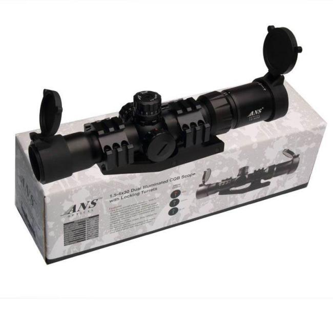 ANS 1.5-4X30 Tactical Optical Rifle Scope with Red Green Illuminated Cross
