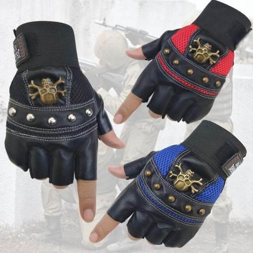PU Leather Skull Punk Fingerless Gloves