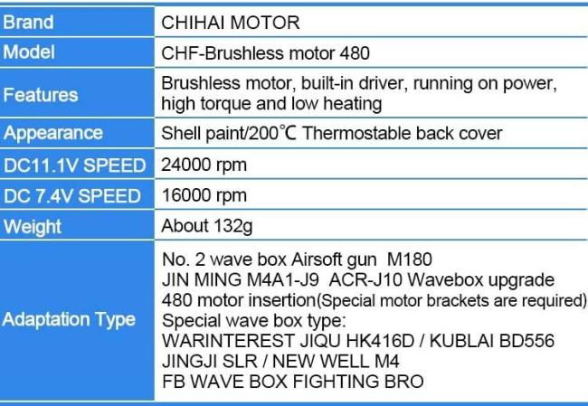 Chihai CHF-480 Brushless Motor Torque M180