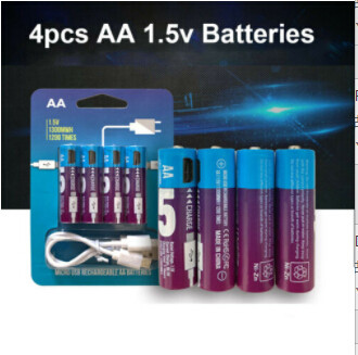 4Pcs AA 1.5V 1300mWh USB Rechargeable Batteries