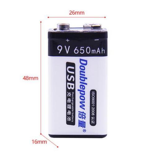 Doublepow 9v 650mah USB Rechargeabe Battery