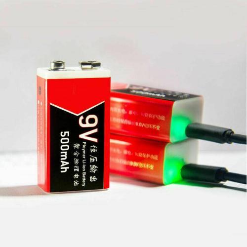500mAh 9V USB Rechargeable Polymer Li-ion Battery