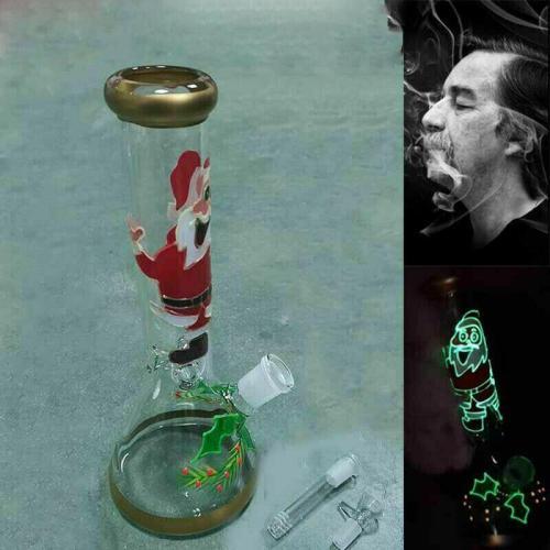 10'' Christmas Xmas Santa Glass Bong Beaker Hookah Water Pipe