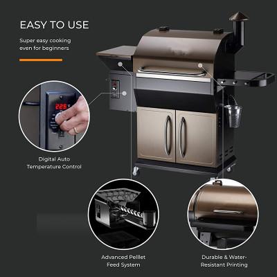 2020 New Model Wood Pellet Grill & Smoker, 8 in 1 BBQ Grill Auto Temperature Control, 1, 1060 sq in Bronze