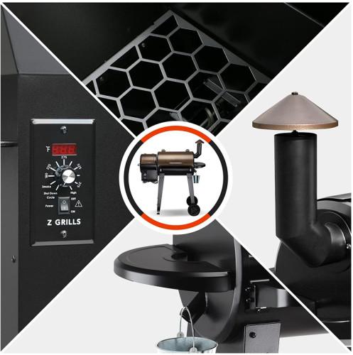 2020 Upgrade Wood Pellet Grill & Smoker 6 in 1 BBQ Grill Auto Temperature Control, 450 Sq in Bronze