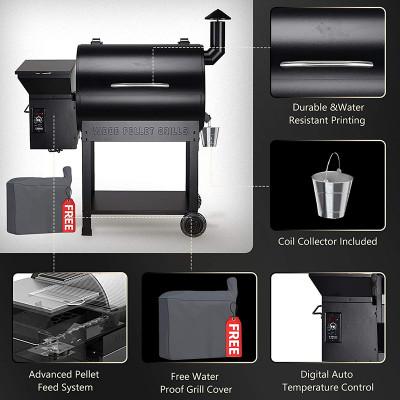 2021 Upgrade Wood Pellet Grill & Smoker, 8 in 1 BBQ Grill Auto Temperature Control, 553 sq in Black
