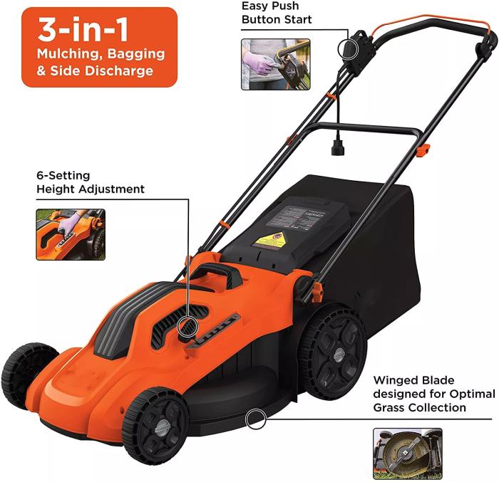 Lawn Mower, Corded, 13 Amp, 20-Inch (BEMW213)