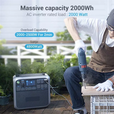Portable Power Station AC200P 2000W 2000Wh Solar Generator 700W PV Max. Backup Battery Pack with 6 2000W AC Outlet(4800W Surge) for RV Home Emergency Outdoor Camping Explore