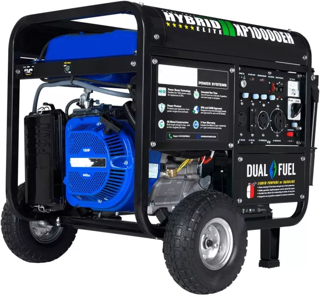 XP10000EH Dual Fuel Portable Generator - 10000 Watt Gas or Propane Powered-Electric Start- Home Back Up & RV Ready, 50 State Approved