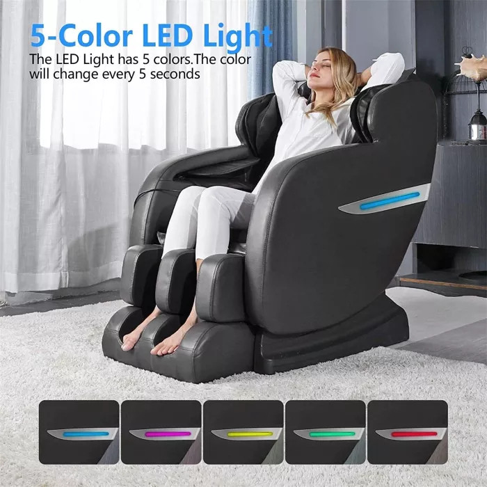 Massage Chair, Zero Gravity Massage Chair, Full Body Shiatsu Massage Recliner with Heat Function, Foot Roller, Led Light, LCD Wired Remote Control, Elastic Calves Section, Black