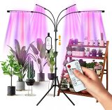 LED Grow Lights for Indoor Plants, Full Spectrum Plant Light with Stand (Adjustable Tripod 15-60inch for Floor Plants, Red/Blue/White, 4/8/12H Timer with Remote Control)