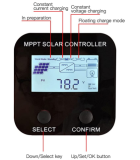 MPPT solar controller charger with RS485 communication, 48V 36V 24V 12V voltage automatic identification, support lead-acid battery, lithium battery, lithium iron phosphate battery, maximum 150V input solar voltage stabilizer, used for solar power system (60A)