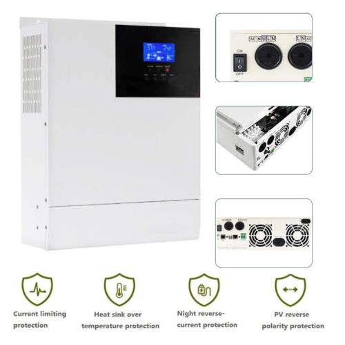 Hybrid inverter 48V 3000W inverter built-in 80 amp Mppt controller, 110V / 120V AC 3KW pure sine wave inverter, suitable for 48V lead-acid and lithium battery support power supply/solar/generator (upgrade version)