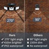 Solar Security Lights, 3 Head Motion Sensor Lights Adjustable 74LED Flood Lights Outdoor Spotlights 360° Rotatable IP65 Waterproof for Porch Garden Patio Yard Garage Pathway