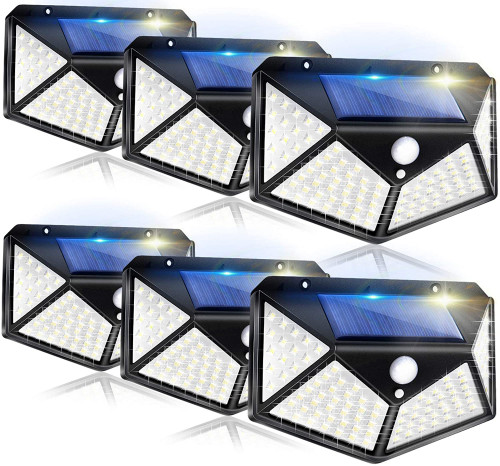 Solar Lights Outdoor, 100LED/3 Modes 270° Lighting Angle Motion Sensor Security Lights, Wireless IP65 Waterproof Wall Lights Solar Powered, Bright for Backyard Garden Fence Patio Front Door
