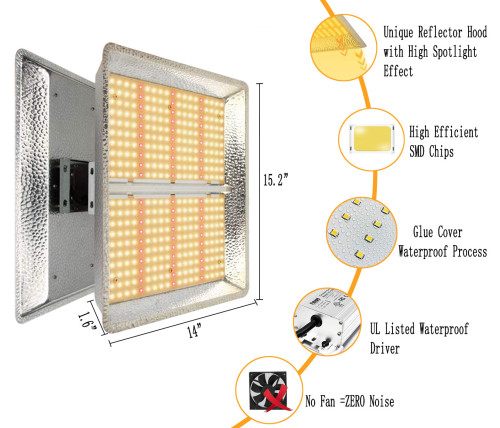 600W Led Grow Light for Indoor Plants, Sunlike Spectrum with IR, UV for 2'x 2' - FactoryMall