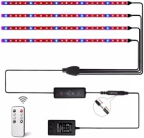 LED Grow Light Strips,4 Pcs 1.64 ft 24W Plant Growing Light Strips with 120 LEDs,3 Switch Modes,10 Dimmable Levels,Adhesive Red Blue Spectrum Light Strips,3/9/12H Auto ON/Off Timer for Indoor Plant