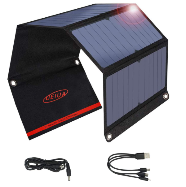 10W/20W/40W/60WSolar Phone Charger with Dual USB(5V/2A), Portable Solar Panels for Camping and Emergency, Compatible with iPhone 11/Xs/XR/X/8/7S, iPad, Galaxy S8, LG and More