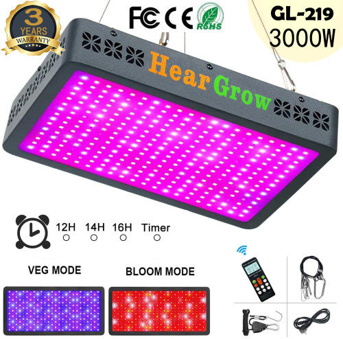 GL-219 3000W Remote Control Auto Timing Group Control LED Grow Light Full Spectrum for Greenhouse and Indoor Plant 7.5'x 8.5' -