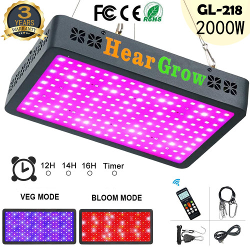 GL-218 2000W Remote Control Auto Timing Group Control LED Grow Light Full Spectrum for Greenhouse and Indoor Plant 4.5'x 8.0' -