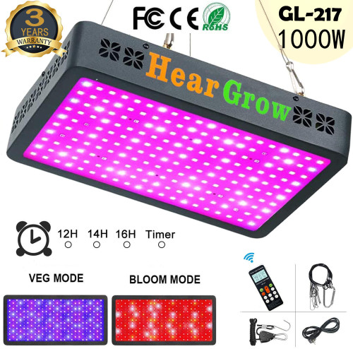 GL-217 1000W Remote Control Auto Timing Group Control LED Grow Light Full Spectrum for Greenhouse and Indoor Plant 3.4'x3.8' -