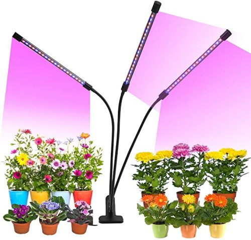 Remote control Purple LED Grow Light 30W 3 Head Timing Dimmable Grow Light for Indoor Plant