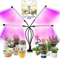 Remote control Purple LED Grow Light 30W 4 Head Timing Dimmable Grow Light for Indoor Plant