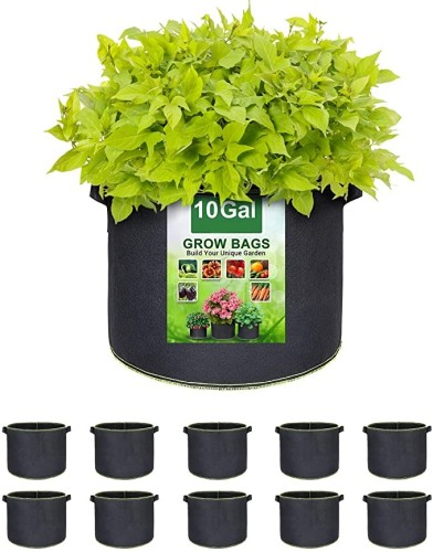 10 Gallon Plant Grow Bags, Heavy Duty Thickened Nonwoven Fabric Pots with Handles