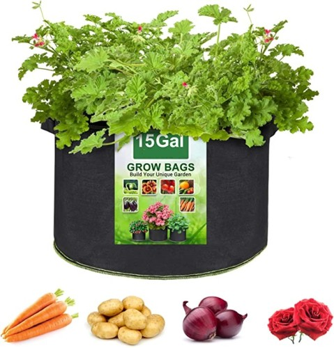 15 Gallon Plant Grow Bags, Heavy Duty Thickened Nonwoven Fabric Pots with Handles