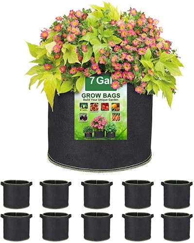 7 Gallon Plant Grow Bags, Heavy Duty Thickened Nonwoven Fabric Pots with Handles