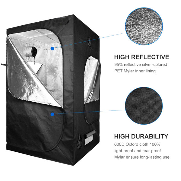 Mylar Hydroponic Grow Tent With Observation Window And Floor Tray For Indoor Plant Growing