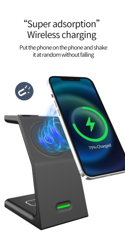 Wireless Charging Stand, 3 in 1 Wireless Charging Station Dock 15W Fast Wireless Charger for iWatch SE/6/5/4/3/2, Airpods 2/Pro, iPhone 12/12 Pro/ 11/11 Pro/XR/XS/X/8 /8P/Samsung(with QC 3.0 Adapter)