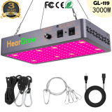 3000W Led Grow Lights for Grow Tent Indoor Plants, Enhanced Full Spectrum with Samsung LM301 Diodes, Smart Control Grow Lamp with Auto ON/Off Timing Functions, Red/IR/UV 300pcs LEDs