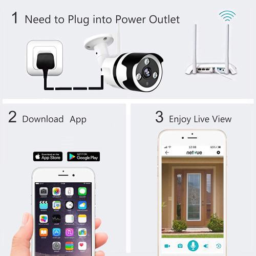 Outdoor Security Camera, 1080P Wifi Bullet Surveillance Camera Two-Way Audio, IP66 Waterproof, FHD Night Vision, Motion Detection, Home Security Camera Activity Alert, Cloud Storage, SD Card