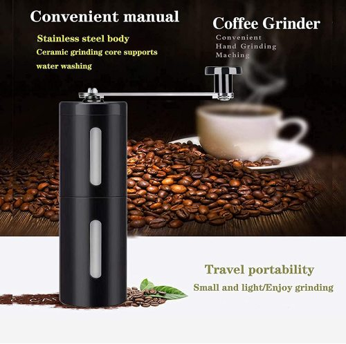 Manual Coffee Grinder with Adjustable Coarseness, Coffee Bean Grinder with Ceramic Conical Burr, Pour Over Coffee for Hand Grinder Gift of Office Home Traveling Camping