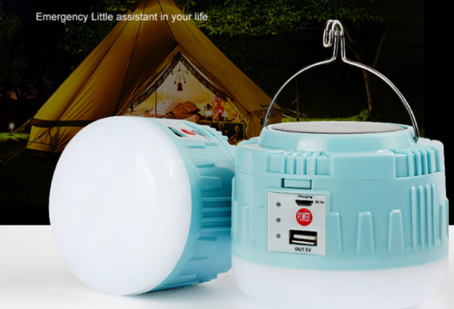 Portable camping lamp USB battery charging, solar charging for mobile phone charging