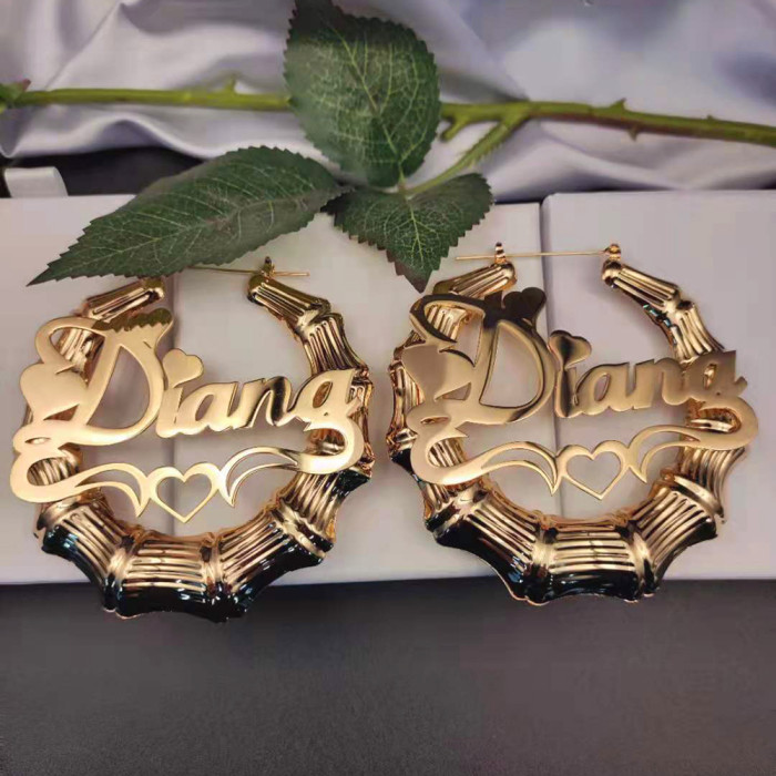 With Heart-shaped Personality Stainless Steel Hiphop Bamboo Hoop Earring Gift Dropshipping