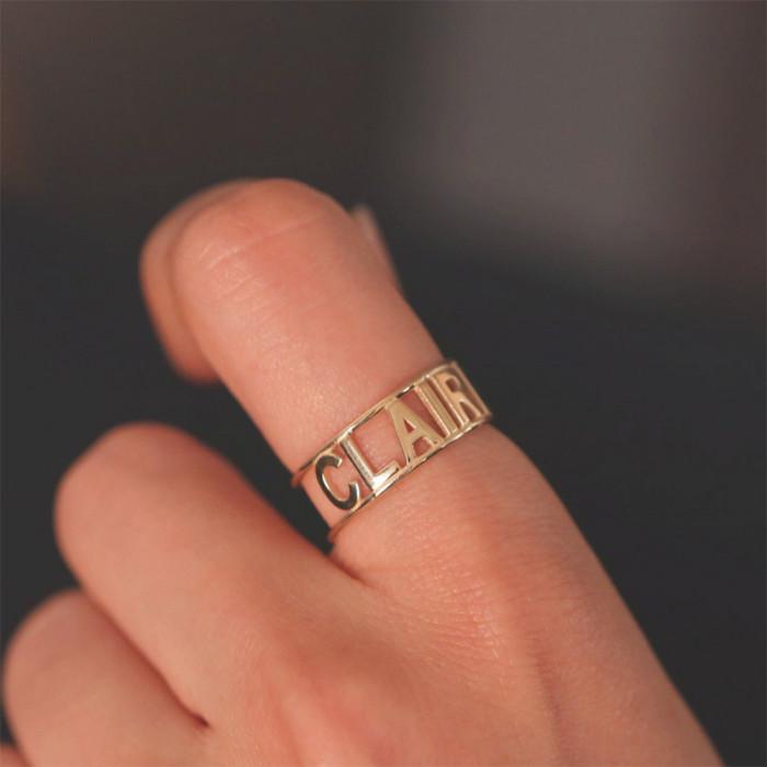 Hollow Letter Stainless Steel Custom Ring/Letter Engraved Rings for Women/Monogram Double Band Ring