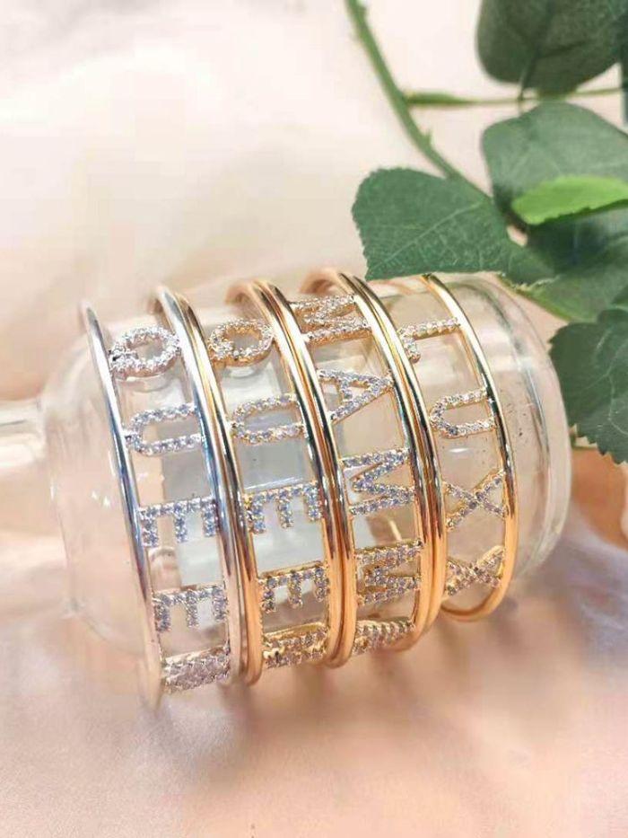 Custom Name Bangle /Rings Set Gold Personalized Name Bracelet Copper for Women Custom Jewelry Set Gift
