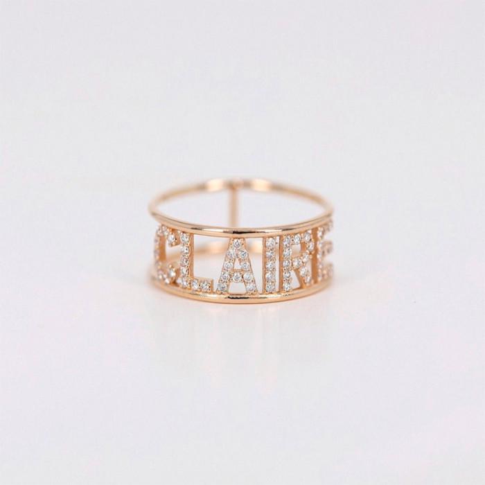 Zircons Jewelry Nameplate Rings/Women Letters Initial Rings/ Full Zirconia Micro Pave Band Handmade Gift