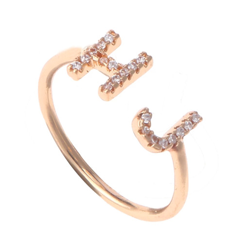 Zircon Custom Rings/A-Z Letter Ring/Personalized Stainless Steel Rings For Women Zirconia Jewelry Open Ring Adjustable Name