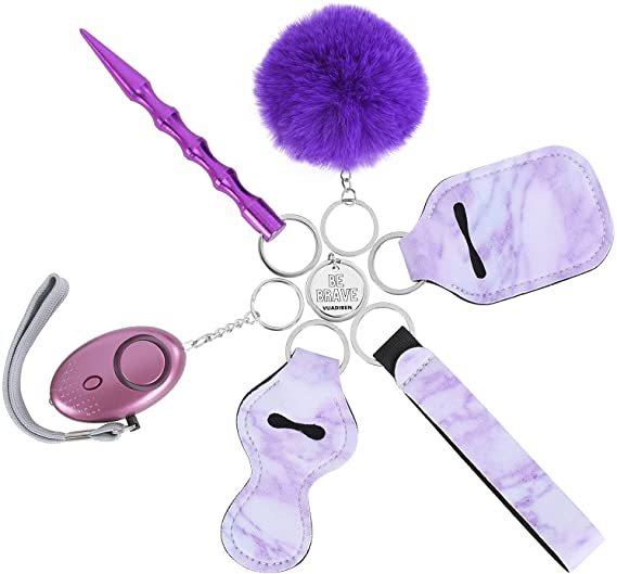 Drivworld Keychain Set for Woman with Personal Safety Alarm, Kubaton Window Breaker Tool, Pom Pom and Lip Balm Lanyard Wirstlet