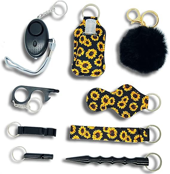 Drivworld Self defense keychain for women, With Safe Sound Personal Alarm, Self-Defence Key Chain Anti-Wolf Defense Keychain