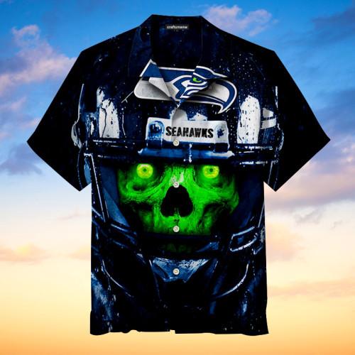 Seattle Seahawks Skull Print Unisex Hawaiian shirt