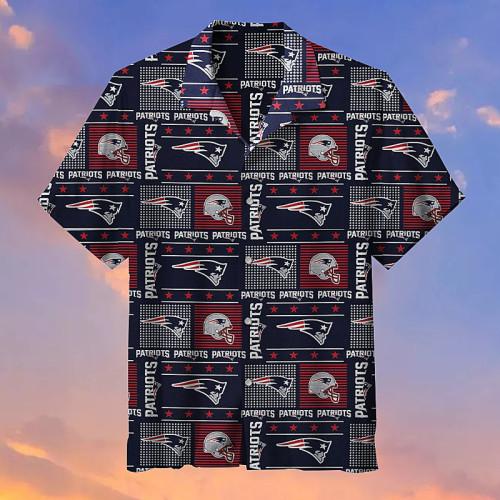 New England Patriots Plaid Polka Dot Hawaiian Shirt
