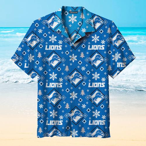 Detroit Lions Print Short Sleeve Hawaiian Shirts