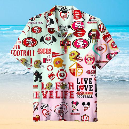 San Francisco 49ers Print Stitching Hawaiian Shirt