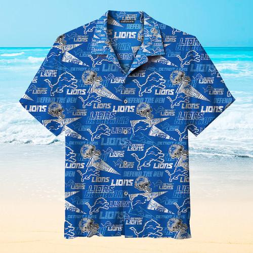 Detroit Lions Print Hawaiian Short Sleeve Shirts
