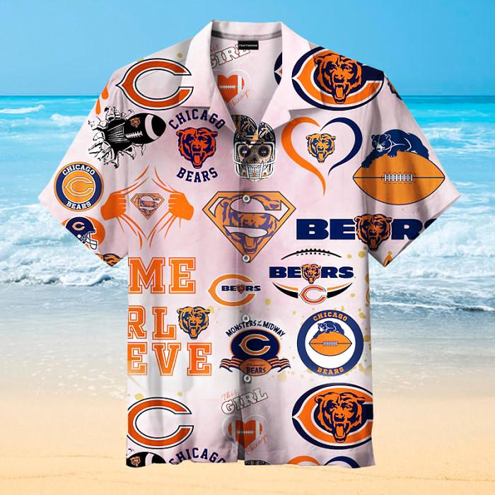 Chicago Bears Sign Art Print Unisex Hawaiian Shirt
