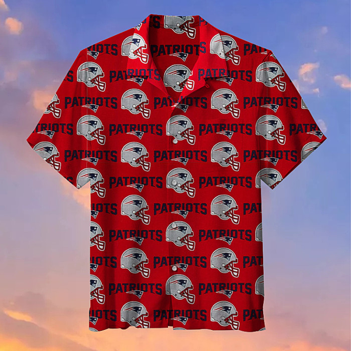 New England Patriots Red Hawaiian Shirt